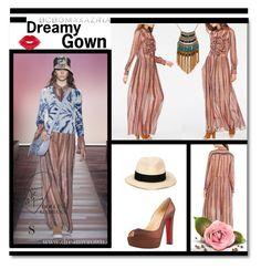 """Chiffon Leane BCBG Runway Dress"" by evermissjody ❤ liked on Polyvore featuring Eugenia Kim, Christian Louboutin, Leslie Danzis, BCBGMAXAZRIA and Manic Panic"