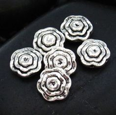 Shimmery Abstract Floral Round Dimensional Pewter Spacer Beads - Set of 30