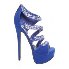 royal blue silver diamond acccent strapped platform high heel ($8.99) ❤ liked on Polyvore