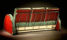 DONALD DESKEY. A Chromium Plated Metal and Vinyl Upholstered Sofa, circa 1935.