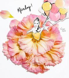 Çiçeklerin Gücü Adına: Çiçekli Moda İllüstrasyonları ile Kadın Elbiseleri - Grace Ciao Sanatlı Bi Blog 35