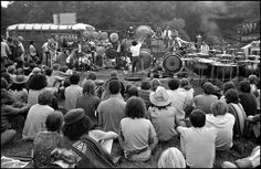 """Christopher Tree creates an inspired state of mind in the viewer with his one-man orchestra that includes 40 Tibetan temple gongs, flutes, tympani and wind chimes."""" however, Woodstock Festival was announced, Hog Farm, Richie Havens, Woodstock Festival, 1969 Woodstock, Creedence Clearwater Revival, Joan Baez, Joe Cocker, Today Pictures, Janis Joplin"""