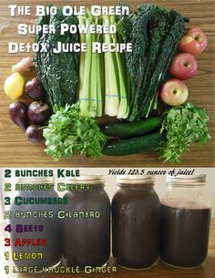 The Big Ole Green Super Powered Detox Juice Recipe produces around 123.5 ounces of cleansing, and detoxifying juice! The article includes a breakdown of the juice recipe's ingredients, and lists many of the specific detox benefits that this juice contains! #juicing #juicecleanse #detox #juicerecipes #juicingfordetox