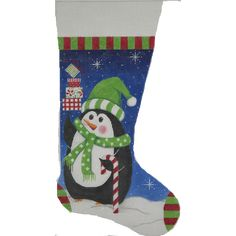 A needlepoint Christmas stocking by Alice Peterson called Penguin and Gifts that measures 11 x 19 and is handpainted on 13 mesh mono Zweigart needlepoint canvas. Needlepoint Designs, Needlepoint Kits, Needlepoint Canvases, Wool Thread, Wool Yarn, Needlepoint Christmas Stockings, Mini Stockings, Hand Painted Canvas, Christmas Gifts