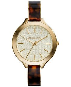 56b40170787 Michael Kors Women s Slim Runway Tortoise and Gold-Tone Stainless Steel  Bracelet Watch 42mm MK4293 Jewelry   Watches - Watches - Macy s