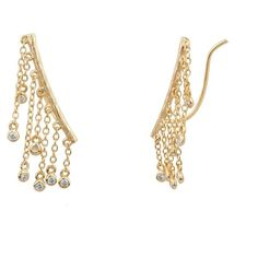 Shashi Jewelry Petra Climber Earrings in Yellow Gold at Lufli.com! These on trend climber earrings look great with your little black dress! They are easy to put on and hard to resist. You'll love these gorgeous earrings.