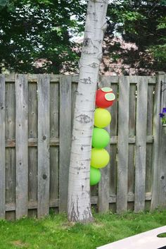 Very Hungry Caterpillar birthday party balloons! See more party ideas at…