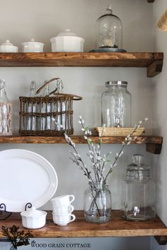 Styled Dining Room Shelving - The Wood Grain Cottage                                                                                                                                                                                 More