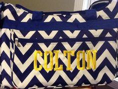 School Spirit Monogrammed Chevron Duffle Bag on Etsy, $30.00