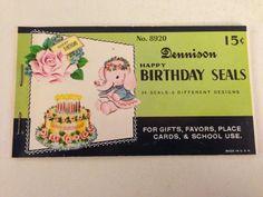 Vintage Birthday Gum Seals by Dennison Happy by TheGOOSEandTheHOUND