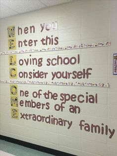 """In this display at educator school, """"W"""" is for warmth, walls and welcoming students. School Hallway Decorations, School Entrance, School Hallways, School Murals, Hallway Ideas, Classroom Bulletin Boards, School Classroom, Classroom Decor, Classroom Design"""