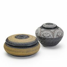 Marvin Blackmore Two Carved And Burnished Vessels