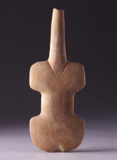 [Unknown, Cycladic Violin-shaped Figurine, ca. 2800 - 3200 BCE.,Marble, Early Bronze Age, Cycladic Art] Although this figurine looked a lot like a violin, if you think of it in a different perspective and more imagination, you could actually see a human body shape. The most obvious is definitely the neck line, there was a 'V' which help to emphasis. Violin shaped figurines was a very common way to represent the female human body in early Cycladic period and they are usually below 20 cm…