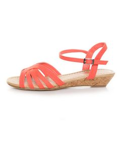 coral canvas, low wedge sandal
