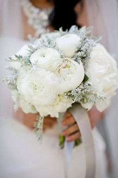 bouquet of white buttercups and maritime cinerariesYou are in the right place about Winter Wedding snow Here we offer you the most beautiful pictures about the Winter Wedding dress you are looking for. When you examine the bouquet of white buttercu Winter Wedding Flowers, White Wedding Bouquets, Bride Bouquets, Floral Wedding, Wedding Colors, Wedding White, Wedding Dresses, Silver Winter Wedding, Purple Bouquets