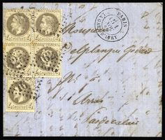 """FRANCE, 1869 (Nov 1) entire letter from Gare d'Ivry, Paris to Arras, with 1867 4 c. grey (5) tied by """"1625"""" gros chiffres. Slight toning between perfs. a very scarce and attractive usage (Photo) Estimate 700 - 900 CHF.    Dealer  Harmers SA    Auction  Minimum Bid:  700.00CHF"""