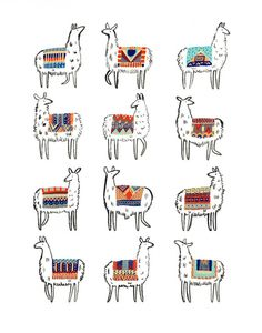 Just twelve llamas kicking it in their favorite colorful outfits. This piece is professionally printed on an 11 x 14 sheet of sturdy watercolor paper.