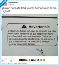 ADVERTENCIA utilizar traductor humanos para evitar cagadas como esta por @eliasmgf   Gracias a http://www.vistoenlasredes.com/   Si quieres leer la noticia completa visita: http://www.skylight-imagen.com/advertencia-utilizar-traductor-humanos-para-evitar-cagadas-como-esta-por-eliasmgf/