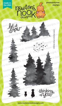 Whispering Pines by Newton's Nook Short Trees, Love You To Pieces, Cat Silhouette, Watercolor Effects, New Sign, Ink Pads, Clear Stamps, Nook, Pine