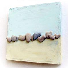 Abstract Ocean Beach Heart Stones Art