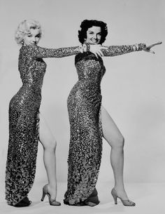Marilyn Monroe and Jane Russell in a promotional photograph for Gentlemen Prefer Blondes, 1953.