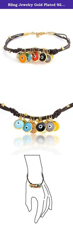 Bling Jewelry Gold Plated 925 Silver Multi Color Evil Eye Brown Leather Bracelet 7.5in. Evil eye energy. Meditation and yoga followers love our evil eye jewelry. What could be more fun to wear than our gold plated Multi Color Evil Eye Charm Brown Leather Bracelet 7.5 in. An assortment of colorful evil eye charms give this evil eye charm bracelet its personality. This is a gold plated evil eye charm bracelet that will keep you feeling cheery all day long. Buy this cheap evil eye bracelet...