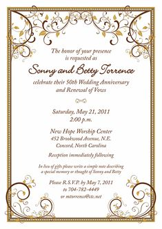 Th Wedding Anniversary Invitations Golden Marriage Th - Wedding invitation templates: golden wedding anniversary invitations templates