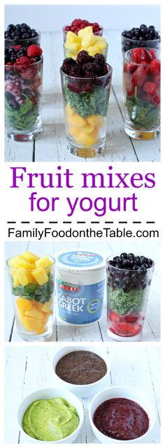 Homemade fruit mixes for yogurt (with kale or spinach) - great for babies and kids! | FamilyFoodontheTable.com