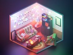 Stranger Things designed by Roman Klčo for Shakuro. Connect with them on Dribbble; the global community for designers and creative professionals. Isometric Art, Isometric Design, Stranger Things, Blender 3d, Modelos 3d, 3d Home, 3d Artwork, Wow Art, Lightroom