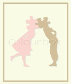 Boy and Girl Kissing Silhouette | Kissing boy and girl silhouettes in heart shape background