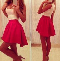 Red Patchwork Pleated U-neck Sleeveless Dress