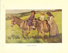 1920's Vintage Children's Print Two Children Boy And Girl Riding Donkeys Bareback In Field Mother Holds Boy On Book Plate Book Illustration by printsandpastimes on Etsy