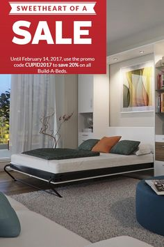 This is your chance to design your very own Murphy Wall Bed. Start from scratch or customize one of our recommended builds. Add side cabinets, lights, doors and other accessories, then sit back and wait for us to deliver everything right to your door.   Show your home some love with our sweetheart of a sale! Visit our website for our February code. #smallspaces