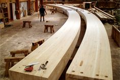 Glued laminated timber aka Glulam.