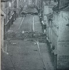 Barricades Before the Attack, Rue Saint-Maur, Paris,France, This same year Paris was in a state of revolution. Old Paris, Vintage Paris, Paris Map, Tour Eiffel, Old Pictures, Old Photos, Vintage Photos, Cities, The Spanish American War