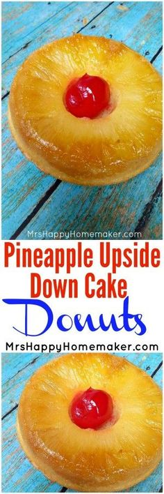 Love pineapple upside down cake? Well this one is a no brainer because you're absolutely going to ADORE my Pineapple Upside Down Cake Donuts. They're really yummy & simple too, so you have no excuse not to make 'em! Donut Recipes, Brunch Recipes, Sweet Recipes, Breakfast Recipes, Köstliche Desserts, Delicious Desserts, Dessert Recipes, Dessert Bars, Lemon Pudding Cake