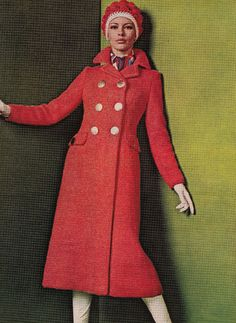 Vintage Knitting Pattern Instructions to Make a Ladies Coat 4 Sizes 1960 s