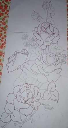 This is a group of floral patterns perfect for embroidery beginners. You get to try out on different embroidery styles for this piece. China Painting, Tole Painting, Fabric Painting, Hand Embroidery Designs, Ribbon Embroidery, Embroidery Patterns, Flower Line Drawings, Fabric Paint Designs, Sewing Art