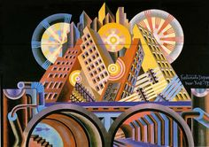 """Depero, Fortunato. (1930). """"New York"""". [Pintura]."""