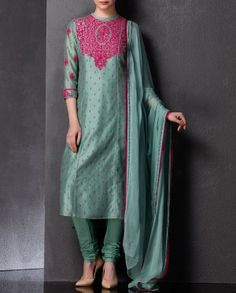 Sea Green Kurta Set with Embroidery
