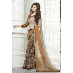 The Wonderfab Georgette Printed Fancy Saree Bollywood Sarees Online, Bollywood Dress, Designer Sarees Online Shopping, Latest Designer Sarees, Indian Dresses, Indian Outfits, Saree Shopping, Casual Saree, Fancy Sarees