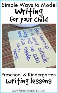 Teach Your Child To Read Fast Simple Ways to Model Writing for your Child ~ Preschool and Kindergarten Writing Lessons Week 1 Kindergarten Literacy, Kids Writing, Teaching Writing, Preschool Kindergarten, Writing Activities, Preschool Ideas, Emergent Literacy, Preschool Centers, Hand Writing