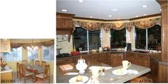 Not every kitchen design needs to stay within the existing space. See how Vestabul helped these homeowners get their dream kitchen by showing them that the space they needed was already there! Before After Kitchen, Valance Curtains, Kitchen Design, Kitchens, Table Decorations, Furniture, Color, Home Decor, Decoration Home