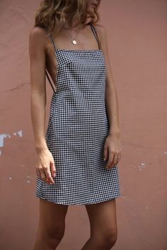 Possē Jane Open Back Mini Dress - Gingham