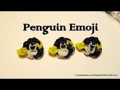 Rainbow Loom Penguin Emoji/Emoticon Charm - How to Rainbow Loom Patterns, Rainbow Loom Creations, Loom Bracelet Patterns, Loom Bracelets, Emoticon, Emoji, Loom Bands, Penguins, Pattern Design