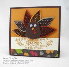 Cute Turkey #2 Thanksgiving Fall Paper Scrapbook Embellishment
