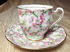 May Medley Royal Standard Vintage Tea Cup Saucer Pink Green Yellow Flowers Bone China.