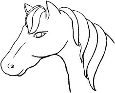 drawing of horse, easy lines