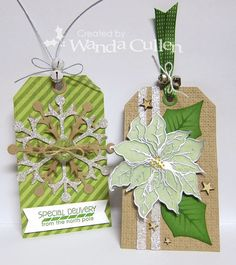 DIY Fast n Fab Poinsettia or Snowflake Christmas Tags with card sketch.  Stamp a sentiment on the back and slip in an envelope.  Can be used as a tree ornament.