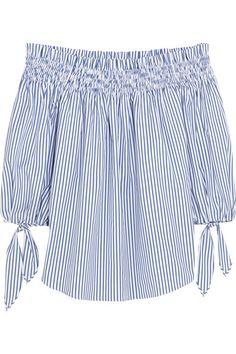 CAROLINE CONSTAS Lou off-the-shoulder striped cotton top